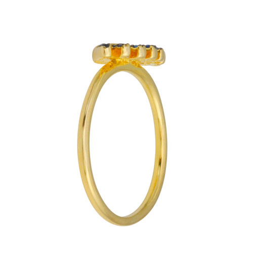 Wholesale Sterling Silver 925 Gold Plated Blue CZ Eye Ring - BGR01116