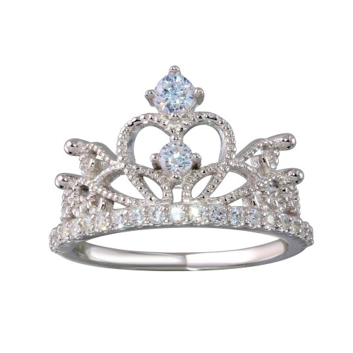 Wholesale Sterling Silver 925 Rhodium Plated Crown Ring with CZ - BGR01148