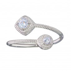 Wholesale Sterling Silver 925 Rhodium Plated Open CZ Ring - BGR01149