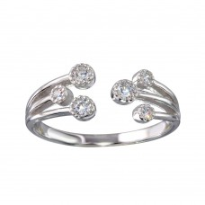 Wholesale Sterling Silver 925 Rhodium Plated Open CZ Ring - BGR01150