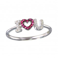 "Wholesale Sterling Silver 925 Rhodium Plated ""I Heart U"" Ring - BGR01151"