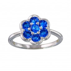 Wholesale Sterling Silver 925 Rhodium Plated Blue CZ Flower Ring - BGR01152BLU