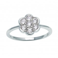 Wholesale Sterling Silver 925 Rhodium Plated Flower Ring with Clear CZ - BGR01152CLR