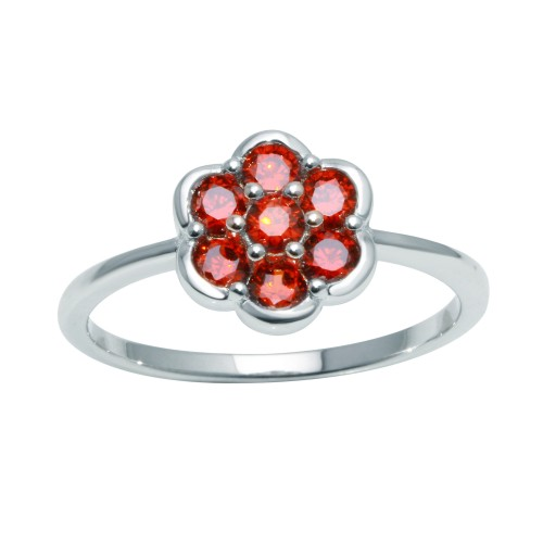 Wholesale Sterling Silver 925 Rhodium Plated Flower Ring with Red CZ - BGR01152RED
