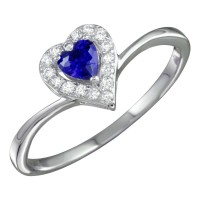 Wholesale Sterling Silver 925 Rhodium Plated Blue Heart Ring with CZ - BGR01153BLU