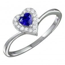 Sterling Silver Rhodium Plated Blue Heart Ring with CZ - BGR01153BLU