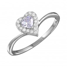 Wholesale Sterling Silver 925 Rhodium Plated Clear Heart Ring with CZ - BGR01153CLR