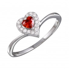 Wholesale Sterling Silver 925 Rhodium Plated Red Heart Ring with CZ - BGR01153GAR