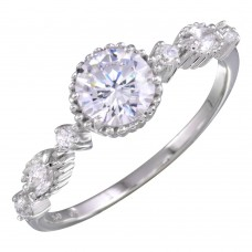 Sterling Silver Rhodium Plated Multiple CZ Ring - BGR01154