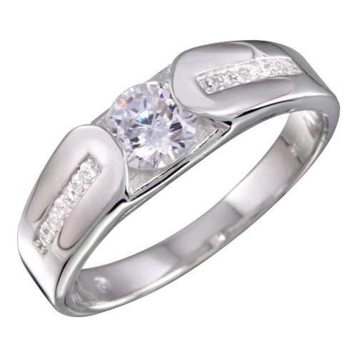 Wholesale Sterling Silver 925 Rhodium Plated Men's CZ Ring - BGR01156