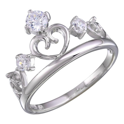 Wholesale Sterling Silver 925 Rhodium Heart Crown Ring with CZ - BGR01157