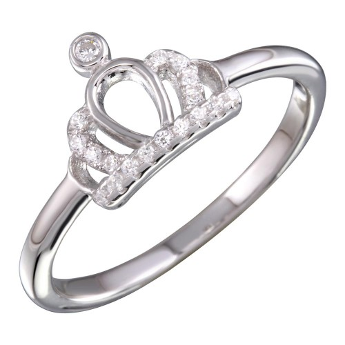 Wholesale Sterling Silver 925 Rhodium Plated Crown Ring with CZ - BGR01158