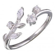 Wholesale Sterling Silver 925 Rhodium Plated Stem Ring with CZ - BGR01159