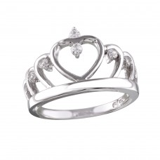 Sterling Silver Rhodium Plated Heart Crown Ring with CZ - BGR01160