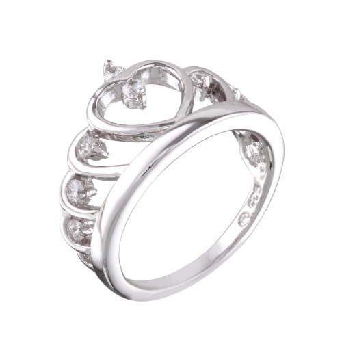 Wholesale Sterling Silver 925 Rhodium Plated Heart Crown Ring with CZ - BGR01160