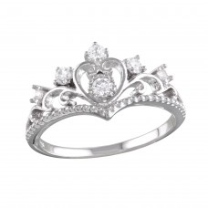 Wholesale Sterling Silver 925 Rhodium Plated Heart Tiara Ring with CZ - BGR01161