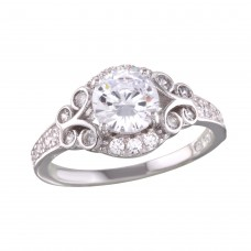 Wholesale Sterling Silver 925 Rhodium Plated Ring with CZ - BGR01162