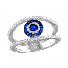 Wholesale Sterling Silver 925 Rhodium Plated Evil Eye Necklace with CZ - BGR01163