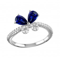 Sterling Silver Rhodium Plated Blue Butterfly CZ Ring - BGR01164BLU