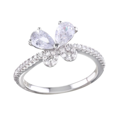 Wholesale Sterling Silver 925 Rhodium Plated Clear Butterfly CZ Ring - BGR01164CLR