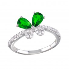 Sterling Silver Rhodium Plated Green Butterfly CZ Ring - BGR01164GRN