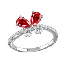 Sterling Silver Rhodium Plated Red Butterfly CZ Ring - BGR01164GAR
