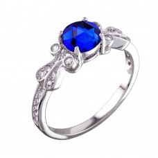 Wholesale Sterling Silver 925 Rhodium Plated Blue Oval CZ Ring - BGR01165BLU