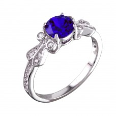 Sterling Silver Rhodium Plated Blue Oval CZ Ring - BGR01165BLU