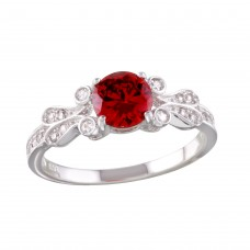 Sterling Silver Rhodium Plated Red Oval CZ Ring - BGR01165GAR
