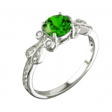 Sterling Silver Rhodium Plated Green Oval CZ Ring - BGR01165GRN