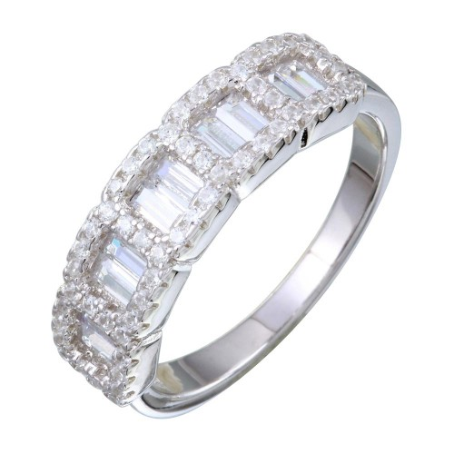Wholesale Sterling Silver 925 5 Square CZ Stone Ring - BGR01166