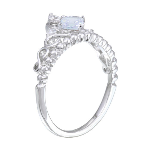 Wholesale Sterling Silver 925 Rhodium Plated Crown Ring with Clear CZ - BGR01168CLR