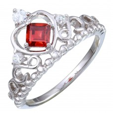 Wholesale Sterling Silver 925 Rhodium Plated Crown Ring with Red and Clear CZ - BGR01168RED