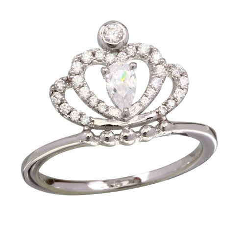 Wholesale Sterling Silver 925 Rhodium Plated Clear CZ Crown Ring - BGR01169CLR
