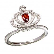 Sterling Silver Rhodium Plated Red CZ Crown Ring - BGR01169RED
