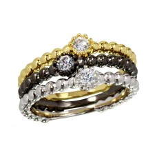 Wholesale Sterling Silver 925 Tri-Color CZ Ring Set - BGR01170
