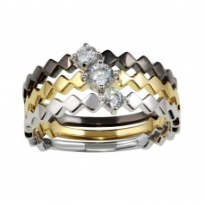 Wholesale Sterling Silver 925 Tri-Color Stackable Ring Set with CZ - BGR01171