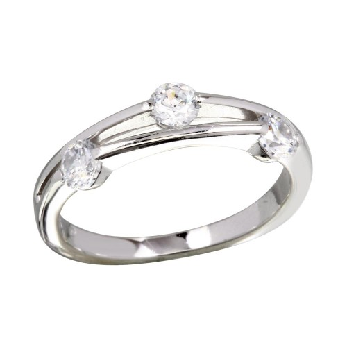 Wholesale Sterling Silver 925 Rhodium Plated CZ Ring - BGR01172