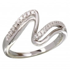 Wholesale Sterling Silver 925 Rhodium Plated Double Wave CZ Ring - BGR01174