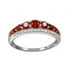 Wholesale Sterling Silver 925 Rhodium Plated Red and Clear CZ Stones Ring - BGR01175RED