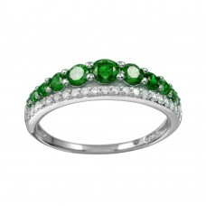 Wholesale Sterling Silver 925 Rhodium Plated Green and Clear CZ Stones Ring - BGR01175GRN