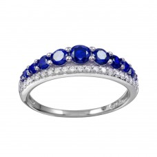 Wholesale Sterling Silver 925 Rhodium Plated Blue and Clear CZ Stones Ring - BGR01175BLU