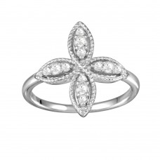 Wholesale Sterling Silver 925 Rhodium Plated Four Petal Ring with CZ - BGR01176
