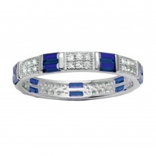 Wholesale Sterling Silver 925 Rhodium Plated Pattern Eternity Ring with Blue and Clear CZ - BGR01177BLU