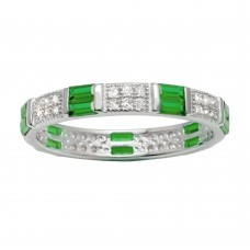 Wholesale Sterling Silver 925 Rhodium Plated Pattern Eternity Ring with Green and Clear CZ - BGR01177GRN