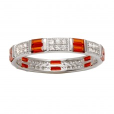 Wholesale Sterling Silver 925 Rhodium Plated Pattern Eternity Ring with Red and Clear CZ - BGR01177RED