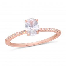 Wholesale Sterling Silver 925 Rose Gold Plated Center Oval CZ Stone Ring - BGR01178RGP