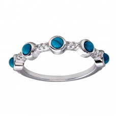 Wholesale Sterling Silver 925 Rhodium Plated 5 Turquoise Stone Ring - BGR01179