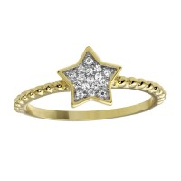 Wholesale Sterling Silver 925 Gold Plated Small Star Ring with CZ - BGR01180