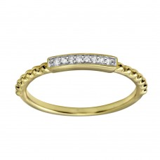 Wholesale Sterling Silver 925 Gold Plated Bar Ring with CZ - BGR01182